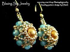 Blue Opal Crystal, Golden Pearl, Bead Weaving Earrings by BlazingSkyJewelry on Etsy