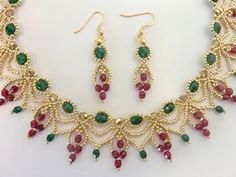 FREE beading pattern for Christmas Cascade Earrings & Necklace