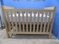 This is a crib I made for my son who was born this past June. Wooden Baby Crib, Baby Cribs, Woodworking Projects, Bed, Furniture, Home Decor, Cribs For Babies, Decoration Home, Stream Bed