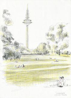CATALINA: Hallo Frankfurt! Pencil sketch at Grüneburgpark.