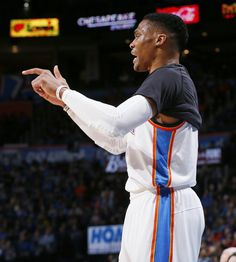 Oklahoma City's Russell Westbrook (0) gives instructions to his teammates from the bench area during an NBA basketball game between the Oklahoma City Thunder and the Memphis Grizzlies at Chesapeake Energy Arena in Oklahoma City, Friday, Feb. 3, 2017. Photo by Nate Billings, The Oklahoman