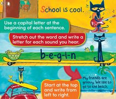 "Pete the Cat Writing Strategies Mini Bulletin Board - Pete the Cat reference posters guide beginning writers to use good writing strategies. Set of nine 6"" x 21"" posters. Includes teacher guide with activities and reproductibles."