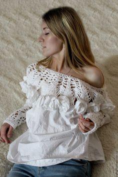 """Купить Блузка в богемном стиле """" Эмилия"""" - белый, однотонный, большой размер, большие размеры"""