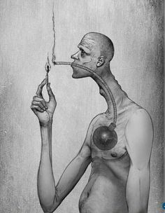 Can you think of what this sketch is trying to convey? The cigarette is no less than a bomb yet a slow one which will explode one day and take away your life.