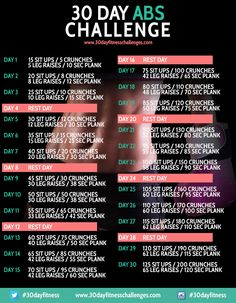 30 Day Ab Challenge Fitness Workout Chart #healthy #workout #monthlychallenge #abs