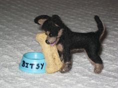 Needle Felted Dog / Custom Miniature Sculpture of by GourmetFelted, $250.00