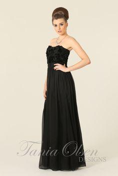 Heidi black rose silk evening dress by Tania Olsen