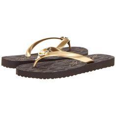 7b2c578142 MICHAEL Michael Kors MK Flip Flop Women s Sandals - Gold Jet Set Logo Print  - love · Michael Kors ShoesHandbags ...
