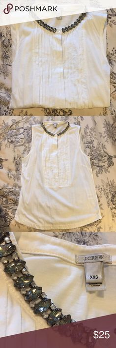 J. Crew embellished blouse cotton/silk size XXS ⚜️ Light off white J. Crew sleeveless blouse with rhinestone embellished collar. No beads, buttons, or stones are missing. New condition! Size XXS. J. Crew Tops Blouses
