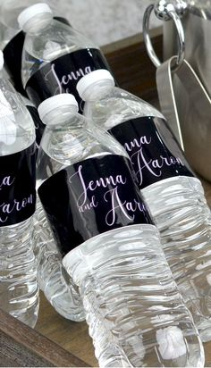Personalized water bottle labels will transform bottled water into a fun and functional keepsake from your wedding day! Choose from several trendy monogram options, and a variety of vibrant colors! Wedding Gift Bags, Gifts For Wedding Party, Wedding Favors, Wedding Ideas, Summer Wedding, Wedding Inspiration, Monogram Water Bottle, Personalized Water Bottle Labels, Monogram Wedding