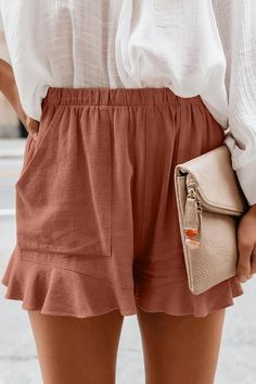 Brown Pocketed Flutter Linen Cotton Shorts – ModeShe.com