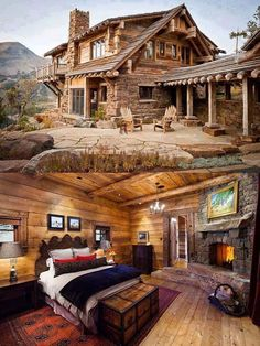 mountain homes Once again, all you need is a mountain stream, and falling snow. Log Cabin Living, Log Cabin Homes, Barn Homes, Log Cabin Plans, Luxury Log Cabins, Timber House, Cabins And Cottages, Mountain Homes, Cabins In The Woods