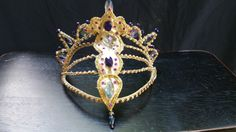 Professional Ballet Headpiece Tiara Gold AB Crystal by Angamow