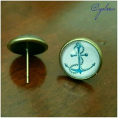 Anchor studs Classy nautical blue fouled anchor studs, brass bezel. Discounts given on bundles! Salty Grace  Jewelry Earrings