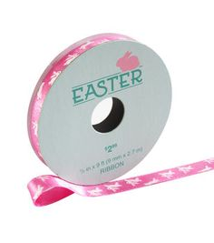 "Easter Ribbon 3/8""x9'-Pink with White Rabbits"