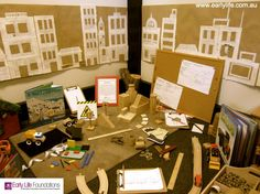 Lovely construction area from Early Life Foundations- I like the use of a pin board and cut out building shapes Construction Area Ideas, Construction Area Early Years, Construction Eyfs, Construction Materials, Inquiry Based Learning, Learning Centers, Classroom Displays, Preschool Classroom, Block Area
