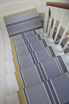 RO_Cluny_Yellow10 MR Striped Carpet Stairs, Striped Carpets, Grey Carpet, Modern Carpet, Stain Remover Carpet, Modern Staircase, Carpet Stains, Neutral Colors, Rugs On Carpet