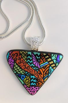Big Bold And Beautiful-Triangle Pendant - by Charzhar Glass