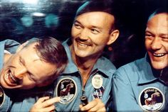 Neil Armstrong, Mike Collins and Buzz Aldrin. enjoying a Laugh..