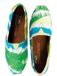 Tye Dye Toms:) I'd do wth any thing else but not Toms:)!