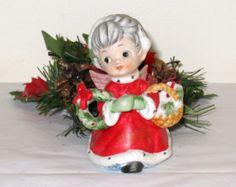 "Sweet Little EVE ROCKWELL Grandma Angel Figurine / Grey Hair w/ Wreath and Gift Basket / 3 1/2"" Tall / George Good Corp."