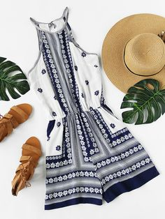 Shop Floral Printed Split Back Self Tie Halter Romper online. SheIn offers Floral Printed Split Back Self Tie Halter Romper & more to fit your fashionable needs. Outfits For Teens, Stylish Outfits, Summer Outfits, Girl Outfits, Cute Outfits, Fashion Outfits, Women's Fashion, Cute Rompers, Rompers Women