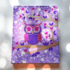 Purple owl in tree fashionable acrylic canvas by StarrJoy16, $25.00