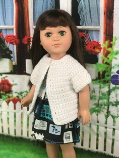 Doll Cardigan Crochet Pattern – Crochet it Creations – Oh, les rues de France! Crochet Dolls Free Patterns, Crochet Doll Pattern, Free Crochet, Irish Crochet, Doll Patterns, Pattern Ideas, Crochet Toys, Crochet Ideas, Dress Patterns