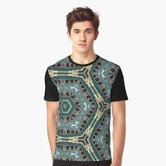 Shirt Patterns For Women, Smoke And Mirrors, Graphic Tee Shirts, Retro Design, My T Shirt, Abstract Pattern, Female Models, Chiffon Tops, Blue Green