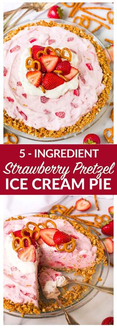 Just FIVE INGREDIENTS to make this easy, cool, and creamy frozen Strawberry Ice Cream Pie with buttery pretzel crust. Like the famous strawberry pretzel salad, in summer dessert form! Swap frozen yogurt or light ice cream to make diet friendly. Recipe at wellplated.com | @wellplated