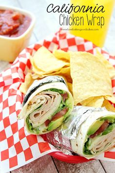 California Chicken Wrap is an easy lunch or dinner idea! No need to heat up the kitchen! by lovebakesgoodcakes, via .This California Chicken Wrap is an easy lunch or dinner idea! No need to heat up the kitchen! by lovebakesgoodcakes, via . Healthy Recipes, Lunch Recipes, Cooking Recipes, Healthy Meals, Eat Healthy, Soap Recipes, Fish Recipes, Chicken Wrap Recipes, Chicken Wraps