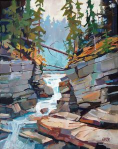 landscape paintings Randy Hayashi Maligne Canyon i like the heavy blocks of color to show the rock texture Watercolor Landscape, Landscape Paintings, Watercolor Paintings, Painting Canvas, Oil Paintings, Landscape Fabric, Landscape Walls, Portrait Paintings, Watercolor Artists