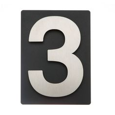 Edelstahl V2A Hausnummer auf schieferfarbenem Blech, 3D Effekt, witterungsfest, inkl. Montagematerial (auch für WDVS erhältlich)
