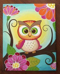 Diy Canvas Painting Ideas For Baby Room Owl Wallpaper Iphone, Cute Owls Wallpaper, Cute Owl Drawing, Baby Girl Drawing, Drawing Ideas, Diy Canvas, Canvas Art, Drawings Pinterest, Owl Cartoon