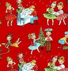 Christmas Cheer Holiday Play Red Retro by  Michael Miller Fabrics Christmas, 13 inches. $3.25, via Etsy.
