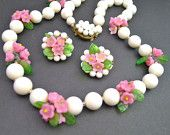 Vintage 40s Milk Glass and Flower Cluster Beaded Necklace and Earrings