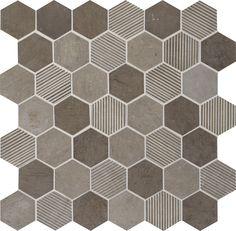 "Limestone Collection Moselle Gris Blend L346 2"" Hexagon Mosaic Natural Stone Tile"