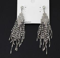 Alfani Silver Tone Sparkling Crystal Multi-Chain Drop Earrings #Alfani #Drop