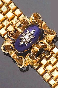 A 19th century blue enamel and diamond bracelet The central cartouche, its openwork scroll mounted by a raised blue guilloché enamel cabochon with raised star motif, to a textured polished bracelet and a concealed clasp, Swedish maker's mark and hallmark, some enamel worn, length 17.3cm., cased