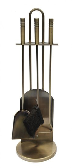 Brass effect companion set with poker, shovel and brush. A complete set of fireside tools to keep your fireplace neat and tidy. Neat And Tidy, Color, Fireplace Accessories, Indoor, Brass Color, Log Baskets, Settings, Living Room Furniture, Room