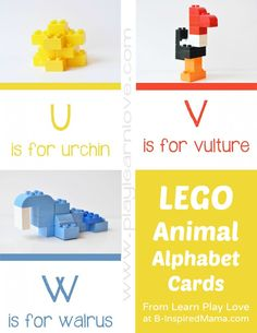 LEGO Animal Kids Alphabet Cards at B-Inspired Mama #kids #preschool #lego #kbn