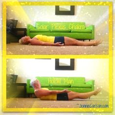 Solar Plexus Yoga exercise - boat pose or 'hollow man' - loved and pinned by www.omved.com