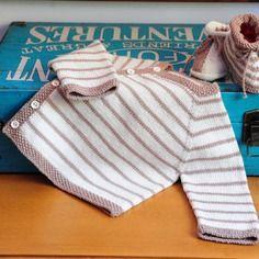Layette ensemble  3 mois en laine mérinos brassière et chaussons écru/marron…