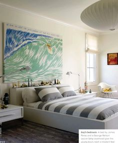 kristin rocke boy's bedroom with a modern coastal/surfer vibe