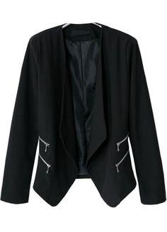 Black Lapel Long Sleeve Zipper Crop Blazer - Sheinside.com