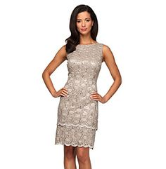 Patra illusion lace sheath dress taupe other and illusions for Elder beerman wedding dresses