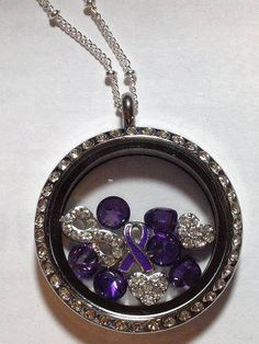 Fibromyalgia Awareness locket.  www.JackieMenendez.OrigamiOwl.com www.Facebook.com/OrigamiOwlJackieMenendezRomero   Contact me to order! JackieMenendez@mail.com 305-323-3319  Tags: Origami Owl, OO, O2, fashion, lockets, Swarovski Crystals, purple, causes, infinity, Fibromyalgia   Please note: Image may contain retired items. Please check with the designer.