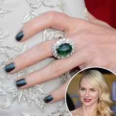"Naomi Watts: Naomi Watts' nails featured Chanel Le Vernis Nail Colour in Black Pearl ($27). ""The slight silver-teal shimmer of this black nail shade was a perfect complement to the emerald ring,"" said makeup artist Pati Dubroff."