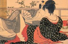"2.43 Kitagawa Utamaro, ""Lovers in an Upstairs Room"", from Uta makura (Poem of the Pillow), 1788. Color woodblock print, (Japanese)"