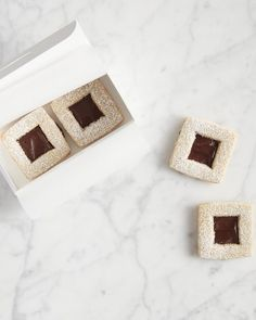 Hazelnut Linzer Cookies with Frangelico Ganache Solid Shapes, Cut Out Shapes, Chocolate Cream, Chocolate Ganache, Linzer Cookies, Holiday Cookies, Holiday Candy, Hazelnut Butter, Cookie Box